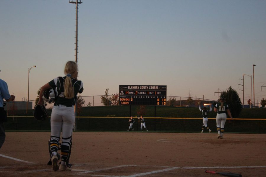 Senior Alyssa Morbach gets the first out of the inning to Elkhorn South.