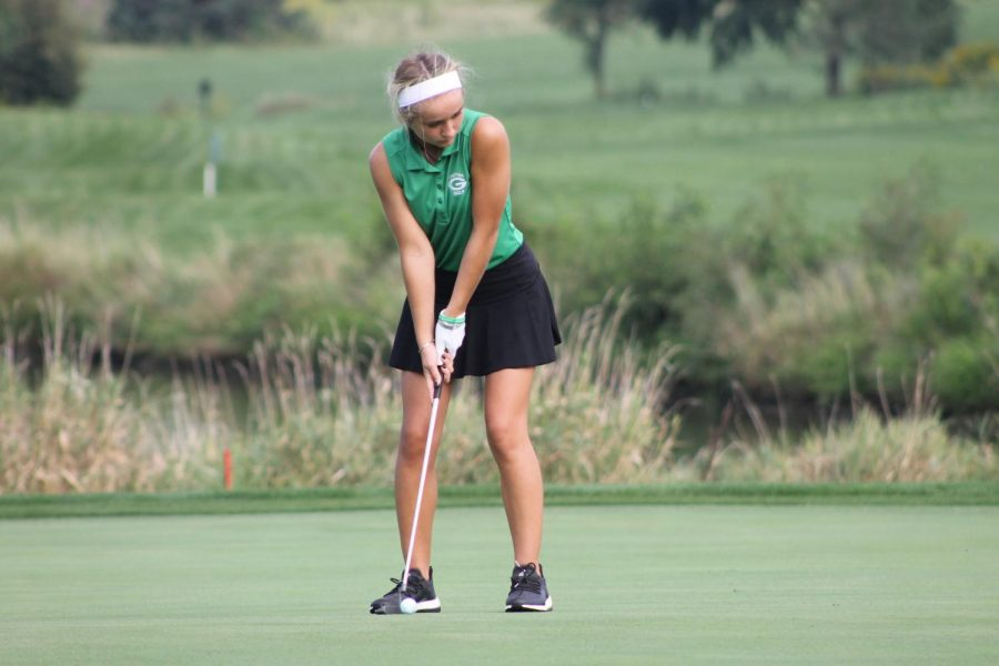 Junior Chloe Serfass gets ready to putt during a meet at Tiburon Golf Course.