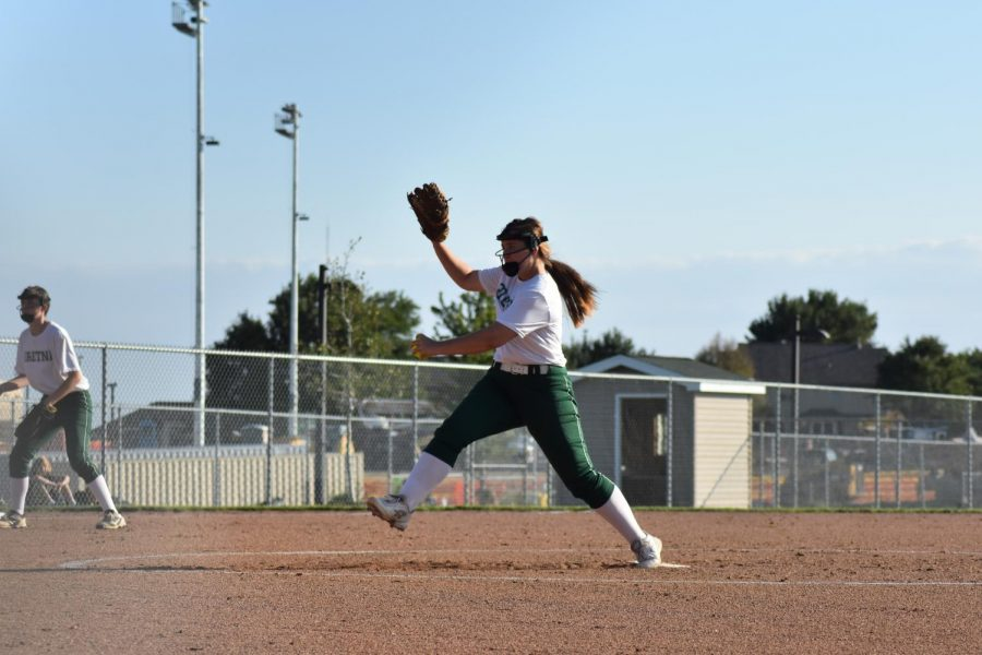 Freshman Kaitlin Hansen Pitching against Papillion Lavista.