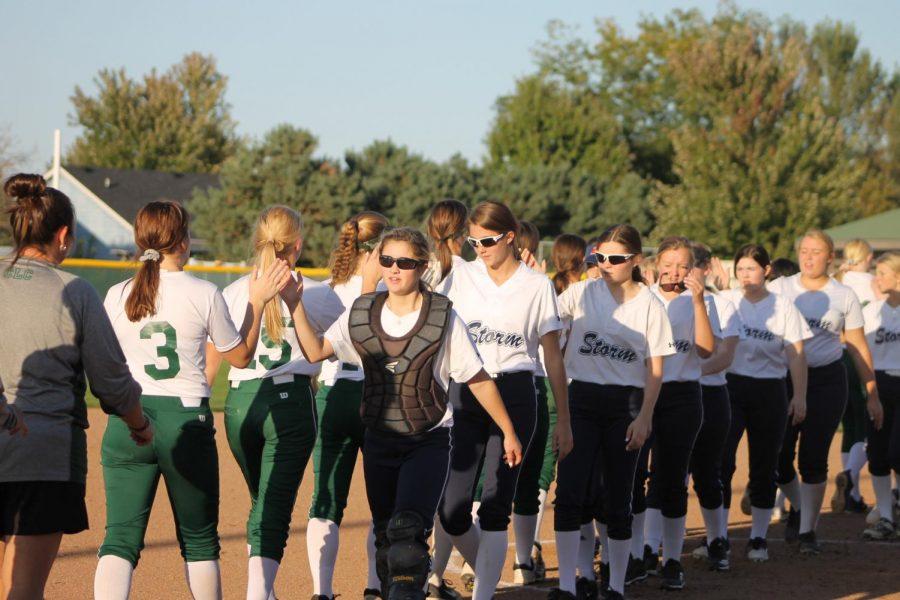 Gretna Girls shaking Elkhorn Girls hands after the game.