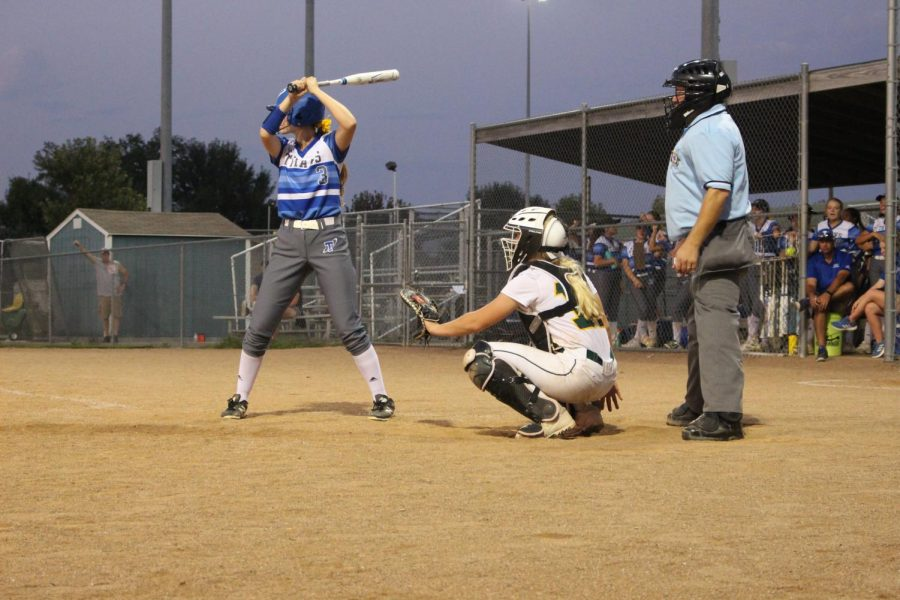 Sophomore Jenna Marshall Gretna softballs catcher, gets ready to catch the pitch.