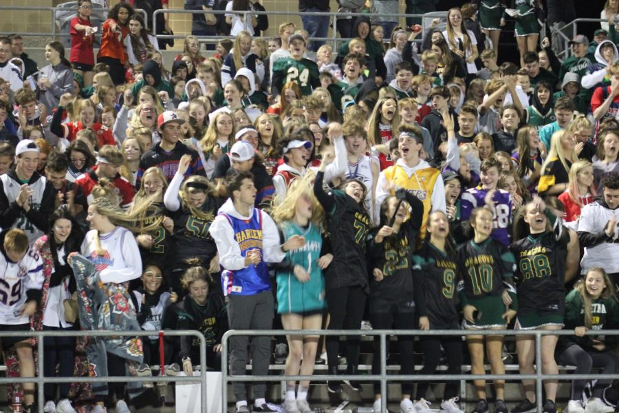 Students getting excited during the football game against Fremont.