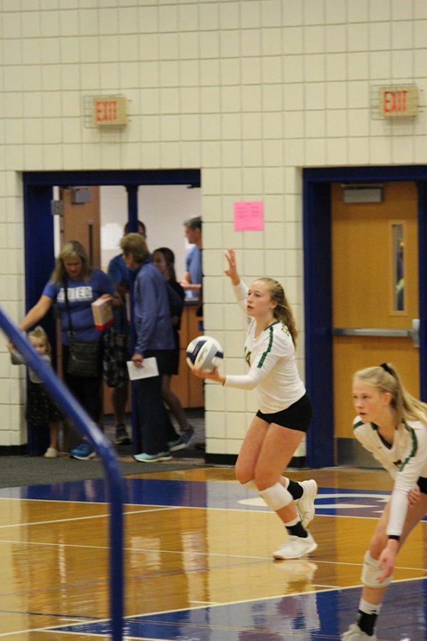 Sophomores Savannah Shelburne and Hanna Jonas get ready to play. Photo by: Connor Bulgrin.