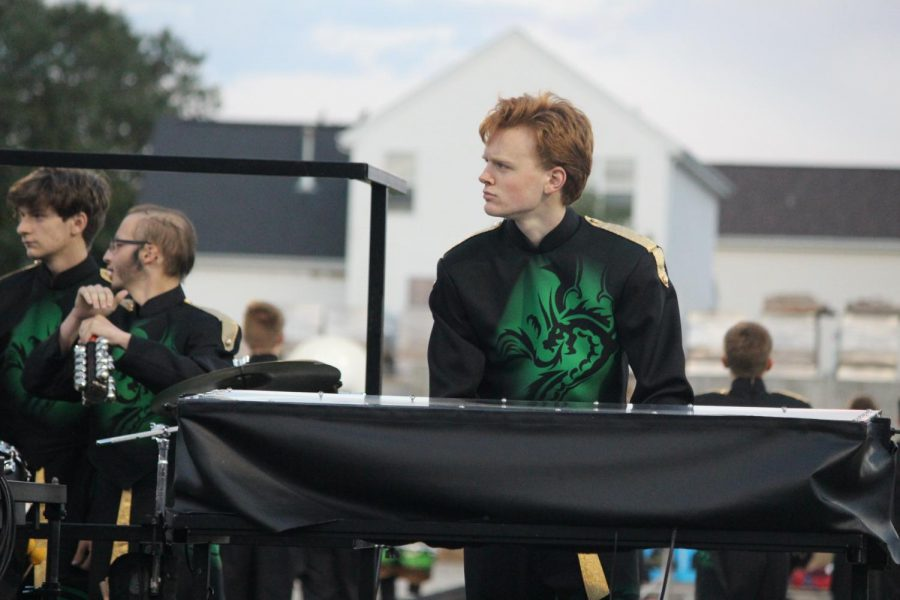 Sophomore Joseph McKee plays the synthesizer for the performance.