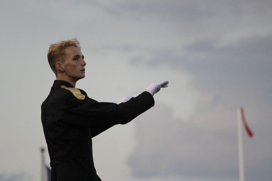 Senior William Holke is the drum major this season. (Photo by: Savannah Andrews)
