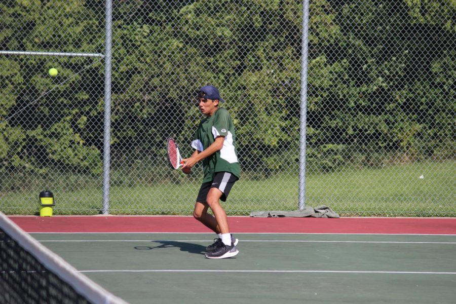 In the home game against Papillion La Vista High School, Junior Micah Bernal is always on his feet and is never letting the ball past him.