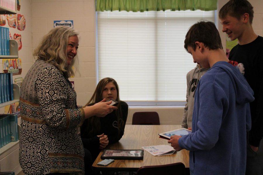 Engaging Students: The freshmen in Mrs. Rhodes' English 9 CP were given the opportunity to code a scene from the book