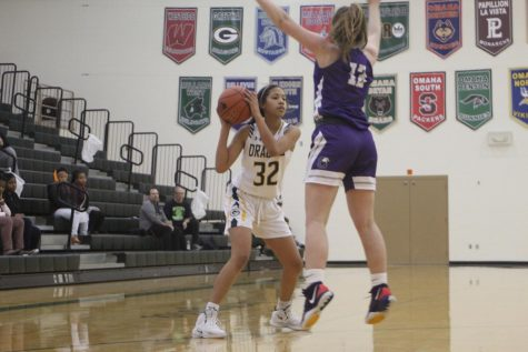 "New Player: Arianna Reeves (23) looking quickly her teammates. ""My favorite part about the game is the adrenaline,"" Reeves said. ""Having the crowd and teammates cheering for you is the best."" This is Reeves's first year playing for the Gretna Dragons."