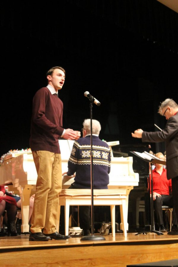 Senior Solo: Students like Kellen McLaughlin (20) were given the chance to perform a solo at the Cookie Walk. McLaughlin was excited about his solo and noted that he would give it his all.