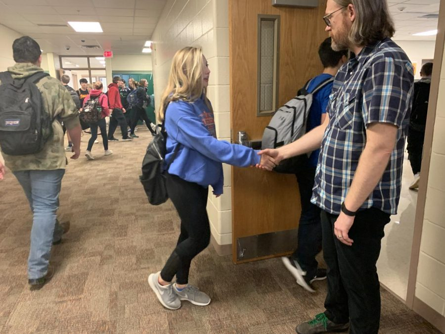 Taking Precaution At the beginning of the year, science instructor, Mr. Jason Larson, shook hands with every student that entered his room. Now, he is taking the advice of Nebraska Governor Pete Ricketts and is bumping elbows with students instead. This is done in an effort to prevent the spread of germs.