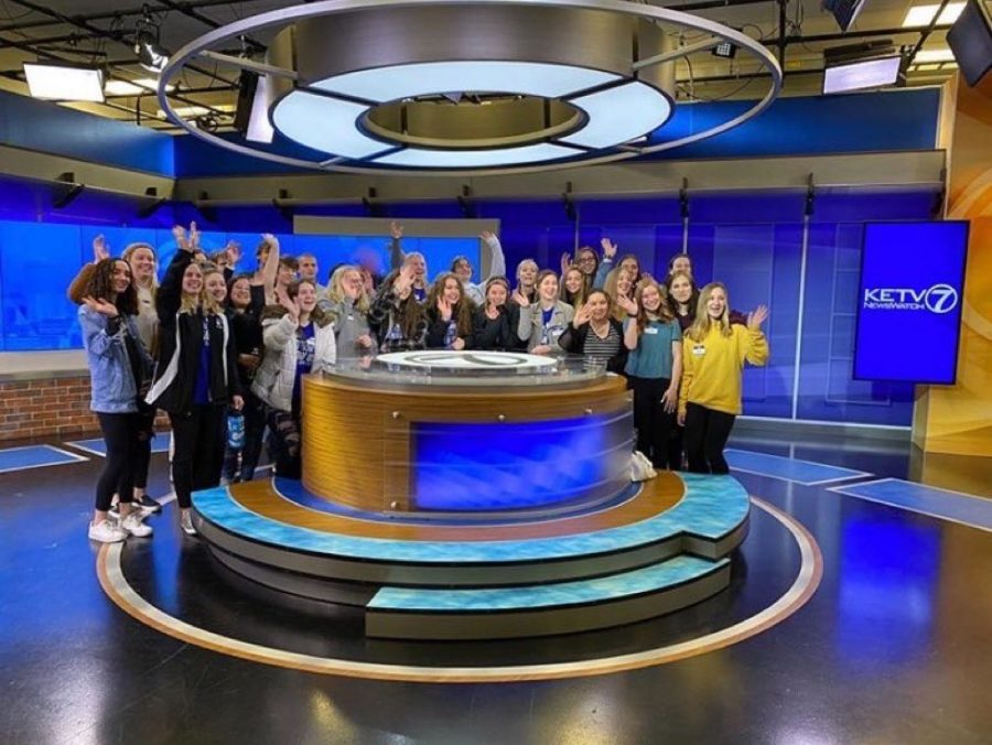 The journalism department toured the KETV studio at Burlington Station.