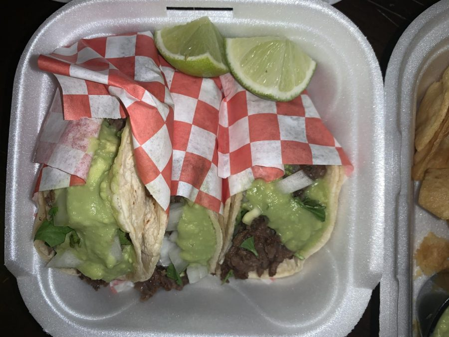 The small Mexican joint offers authentic tacos.  They are served with guacamole and onions, and a choice of verde or red sauce.