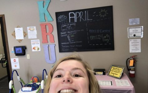 Junior Hannah Rush in the Kids Round-Up office. Rush spends her time working because she is not in school.