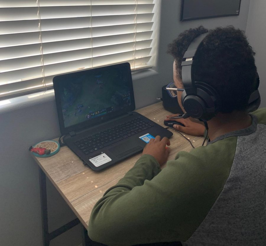 Playing video games during his free time is how Nathaniel Bullard (23) spends his time. Struggling to stay busy, he has turned to technology. He can also play with friend which helps him stay in contact with them.