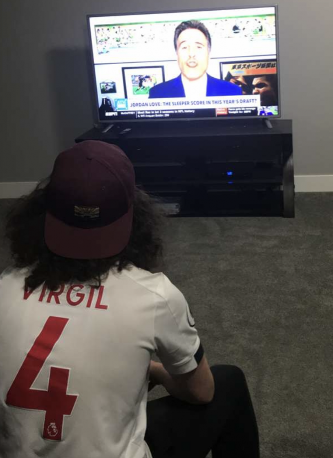 The Ocho: Kaleb Seibel (22) watches the reintroduced ESPN Ocho seeing as almost all other live sports have been cancelled. I really enjoy all the random sports that they air.  Seibel said. The idea for the channel stems from the 2004 movie Dodgeball.