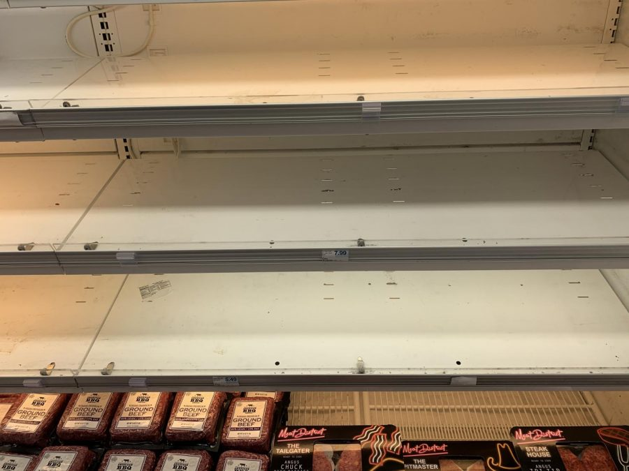Empty Shelves: During the duration of the meat shortage, being able to keep shelves stocked of beef products has been made a challenge for Hy-Vee workers in the meat department.
