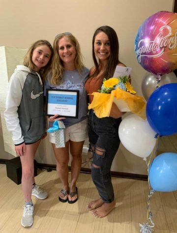 Senior Madison Hansman receiving the Kloe Odermatt Memorial Scholarship on May 1, 2020.