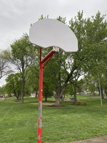 A basketball hoop with the rim removed located at North Park in Gretna taken on May 7th