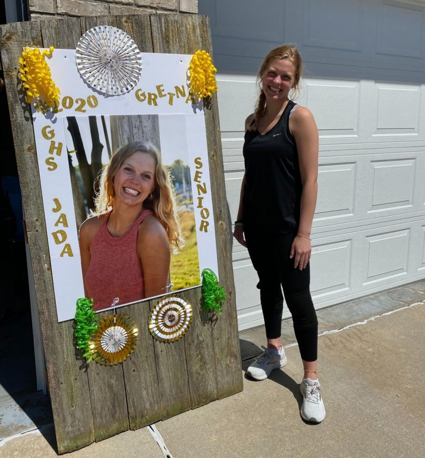 Jada Scharff (20) had a senior sign made for her by her mom.