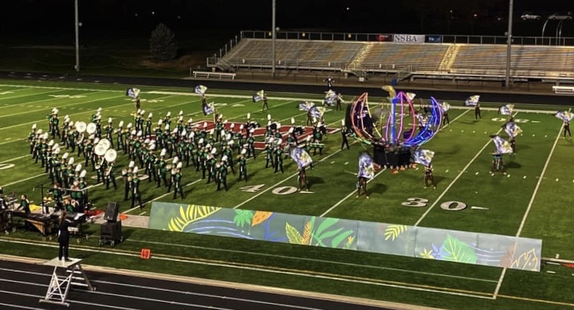 The Gretna Marching Dragons at the NSBMA Competition in 2019. They went on to win two captions awards and the entire competition.