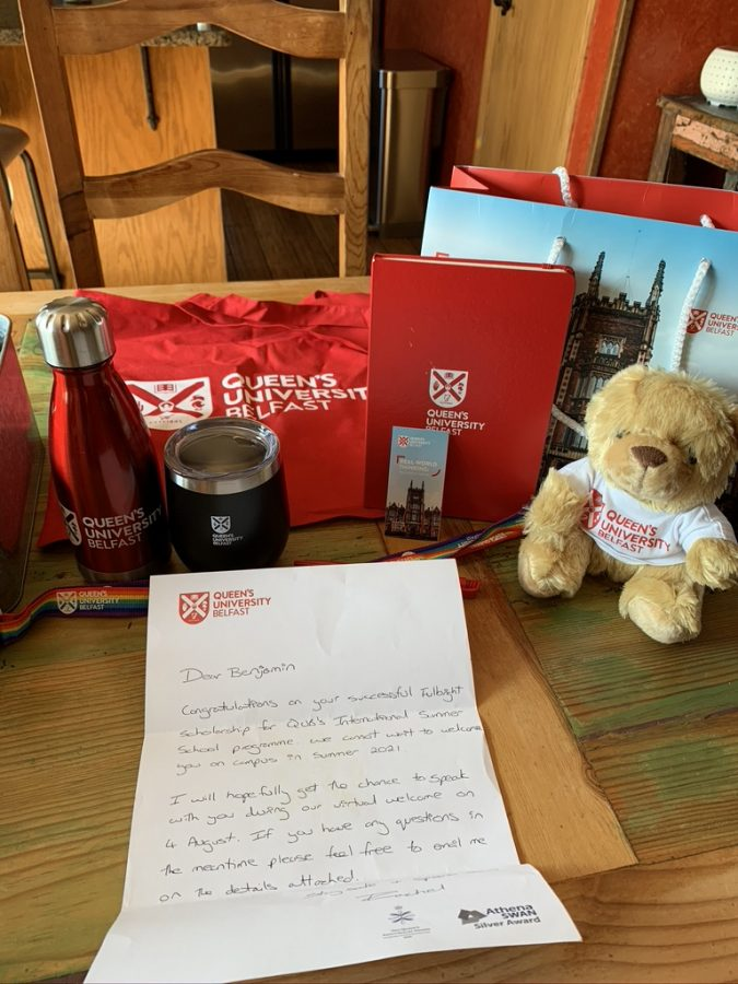 From Northern Ireland, With Love: From Queen's University, Ben Randall (19) received a care package.