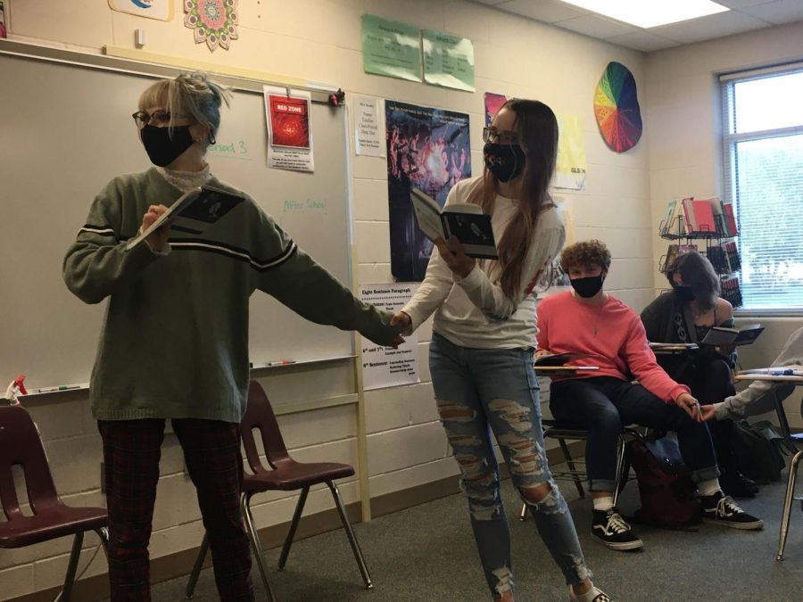 """Getting Into Character  Mrs. Luchsinger's 7th period American Drama class performs The Crucible. """"I loved the play,"""" Mia Jones (22) said. """"I thought it was a wonderful depiction of McCarthyism."""" The Crucible was about the Salem Witch Trials."""