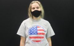 Future Business Leader: Member of FBLA (Future Business Leaders of America), Karlee Lobsiger (21), wears a shirt featuring the club's name wrapped around an American flag.