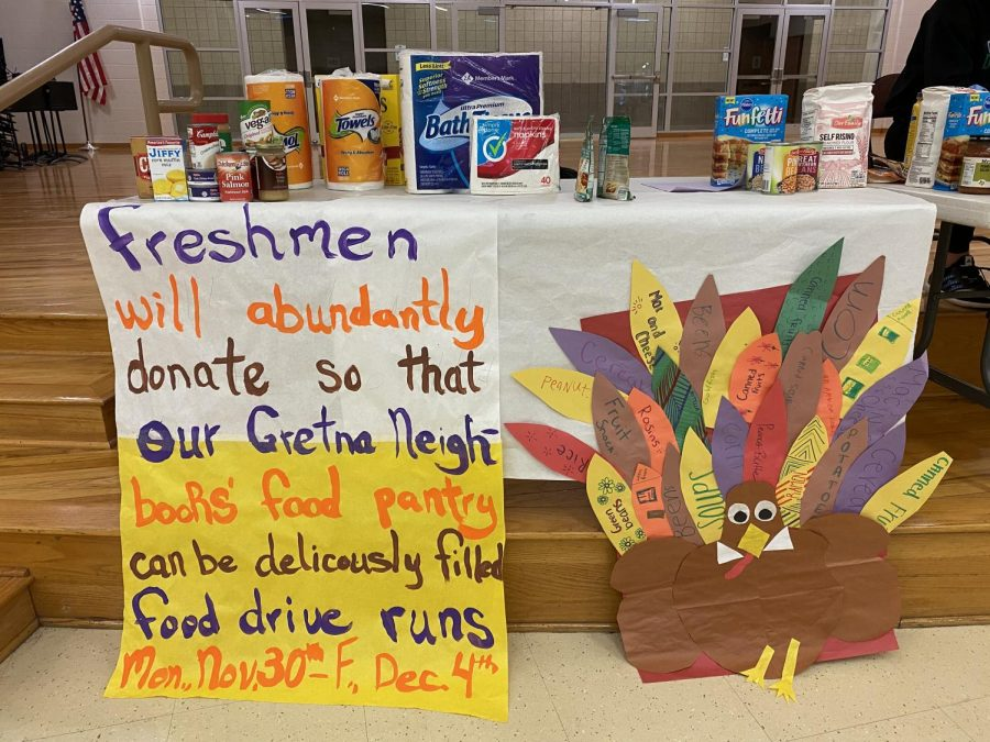 Freshman Luster: The colorful table designed by the freshman was an attempt to increase donations for the food drive.