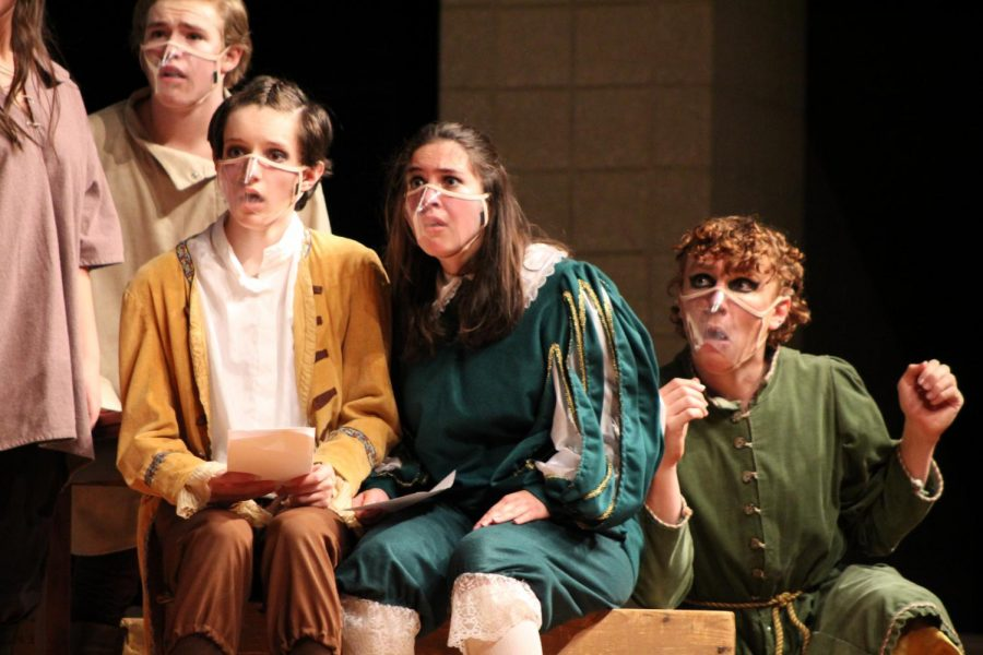 Shocks and Shakespeare Wearing his clear mask, Trey Leasure (21) can show his shocked facial expression.