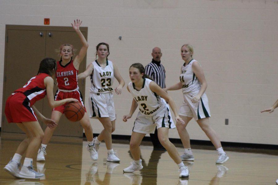 Freshman Basketball game vs. Elkhorn Erin Hildebrand (24), Ava Boyce (24), and Avery Swanson (23)