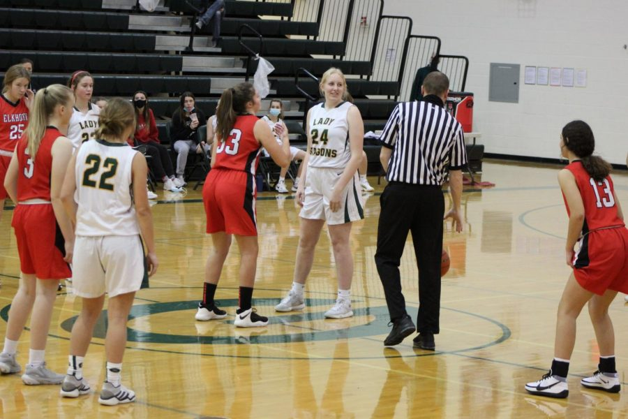 Freshman Basketball game vs. Elkhorn Avery Swanson (23) and Erin Hildebrand (24)