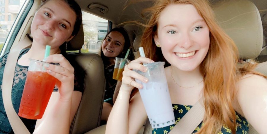Bearing the summer heat, seniors Bayleigh Koch, Lauren Eurich and McKenzie Gunsolly travel to Thirst Tea Cafe located within Omaha's Midtown Crossing and 76th and Dodge st.